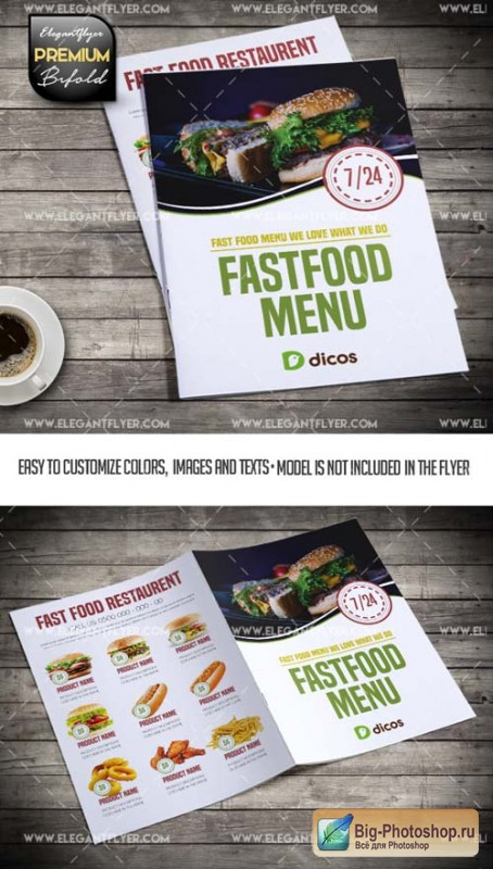 Fast Food Menu V3 2018 Bi-Fold Brochure PSD Template