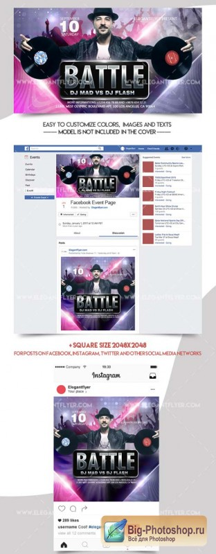 Dj Battle V4 2018 Facebook Event + Instagram template