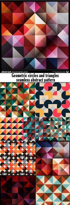 Geometric circles and triangles seamless abstract pattern