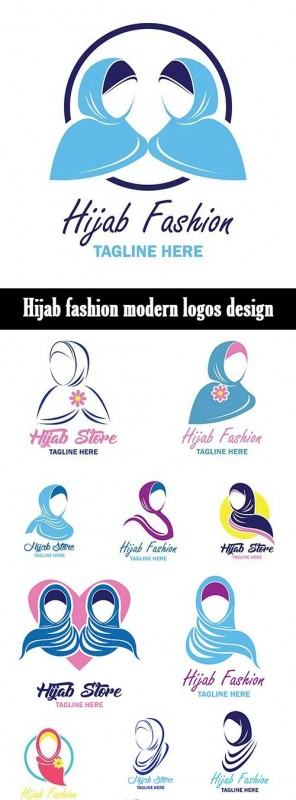 Hijab fashion modern logos design
