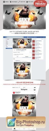 Sexy Halloween V12 2018 Facebook Event + Instagram template