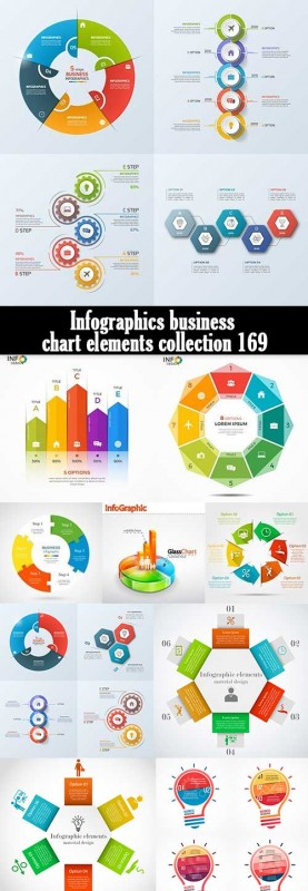 Infographics business chart elements collection 169