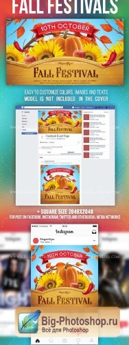 Fall Festivals V14 2018 Facebook Event + Instagram template