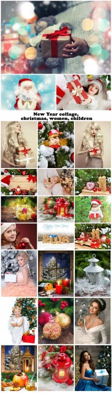 New Year collage, christmas, women, children