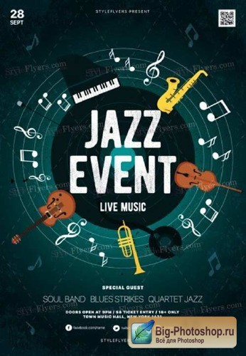 Jazz Concert V7 2018 PSD Flyer Template