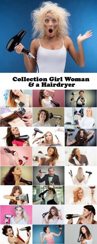 Collection Girl Woman & a Hairdryer 25xJPG