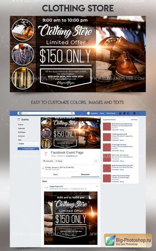 Clothing Store V1 2018 Facebook Event + Instagram template + Youtube Channel Banner