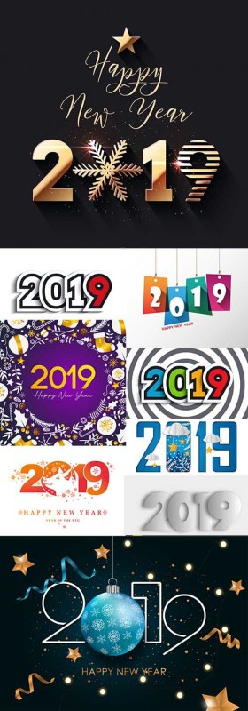 2019 New Year festive inscriptions decorative design 4