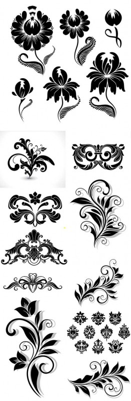 Vintage elegant flower calligraphic decorative elements