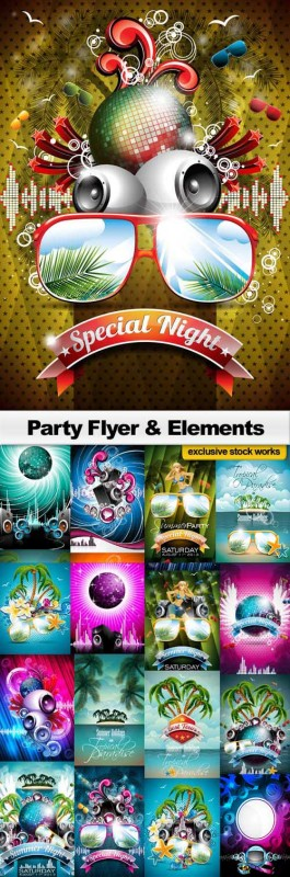 Party Flyer & Elements 25xEPS
