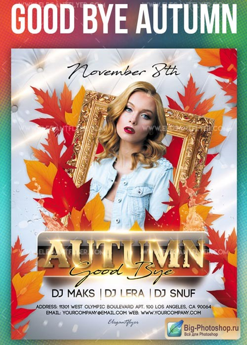 Good Bye Autumn V1 2018 Flyer PSD Template + Instagram template
