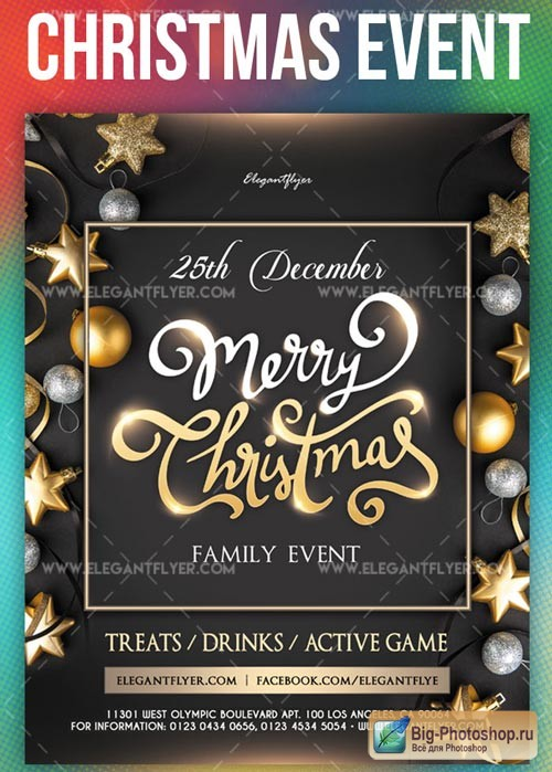 Family Christmas Event V1 2018 Flyer PSD Template + Instagram template