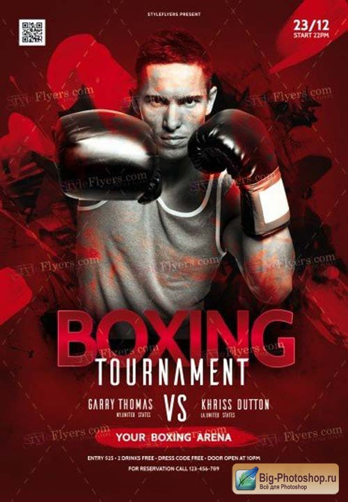 Box Tournament V14 2018 PSD Flyer