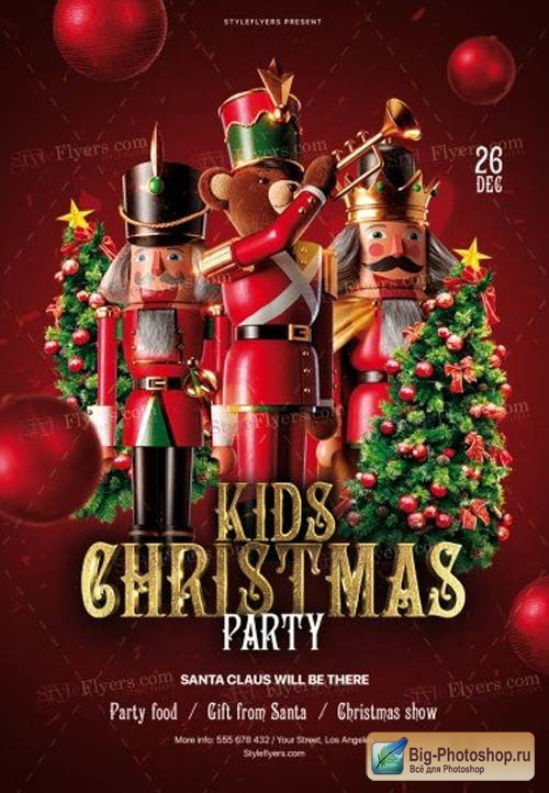 Kids Christmas Party V3 2018 PSD Flyer Template