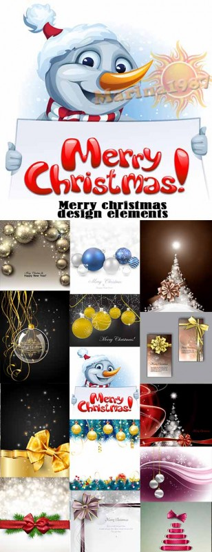Merry christmas 2015 design elements 25xEPS