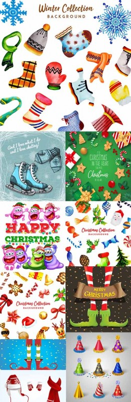 Christmas holiday collection background and elements