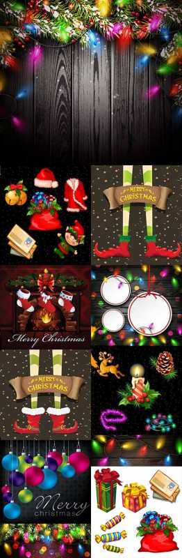 Christmas holiday collection background and elements 2