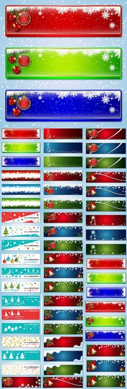 New Year and Merry Christmas banners vector template
