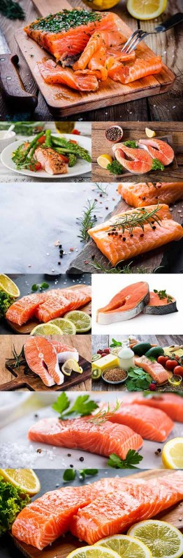 Salmon with spices and a lemon healthy food