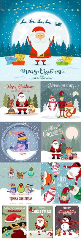 Christmas holiday santa celebration gift cartoon illustration