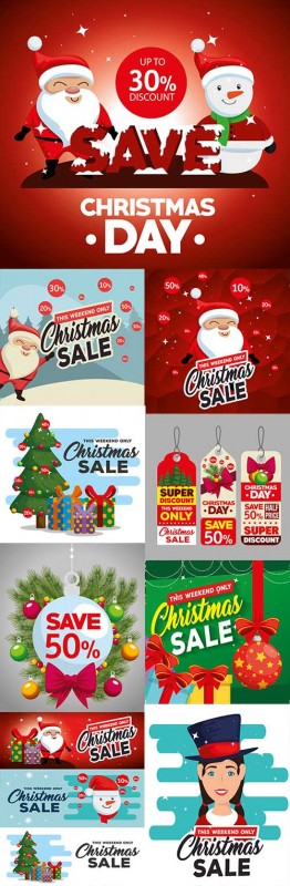 Christmas sale holiday special discount illustration