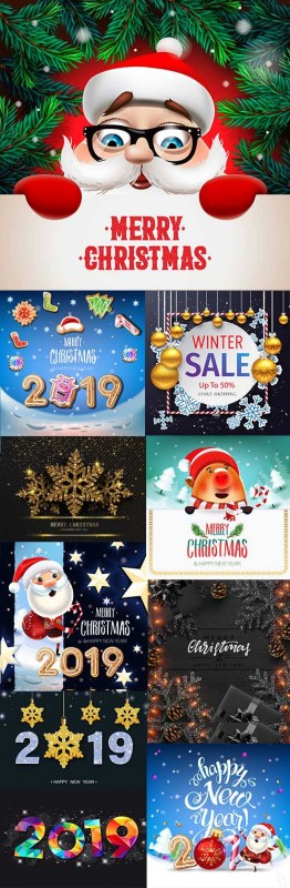 Christmas Santa and decorative New Year 2019