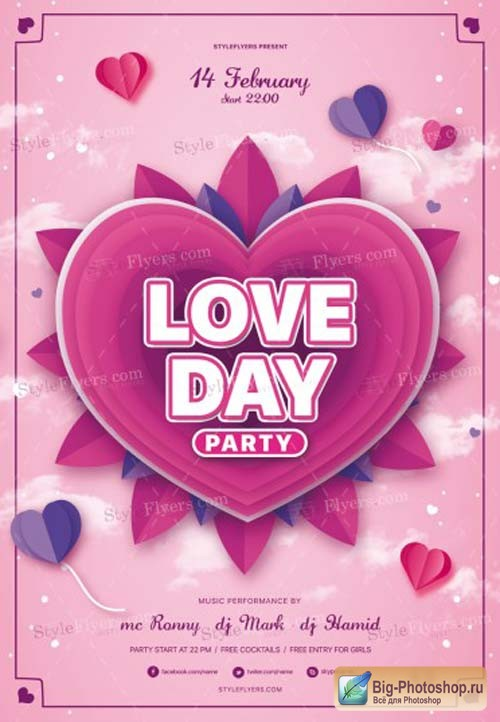 Love Day Party V1 2019 PSD Flyer Template