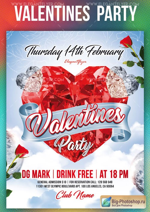 Valentines Party V17 2019 Flyer Template PSD + Facebook Cover + Instagram Post