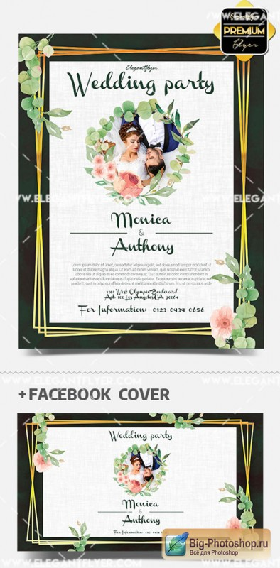 Wedding Outdoor Party V1 2019 PSD Flyer Template + Facebook Cover + Instagram Post