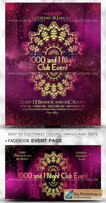 1000 and 1 Night Club Event V1 2019 PSD Flyer Template + Facebook Cover + Instagram Post