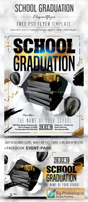 School Graduation V1 2019 PSD Flyer Template + Facebook Cover + Instagram Post