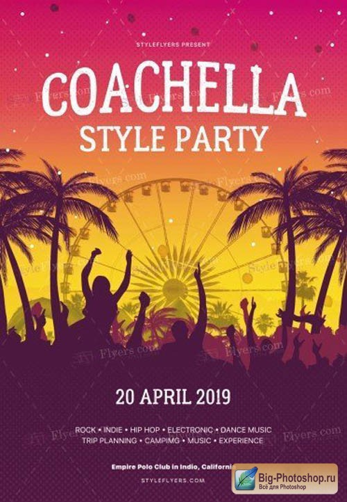 Сoachela Style Party V1 2019 PSD Flyer Template