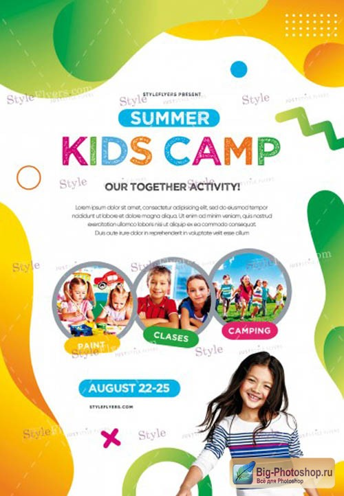Kids Summer Camp V7 2019 PSD Flyer Template