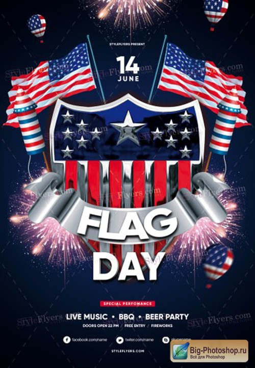 Flag Day V1 2019 PSD Flyer Template