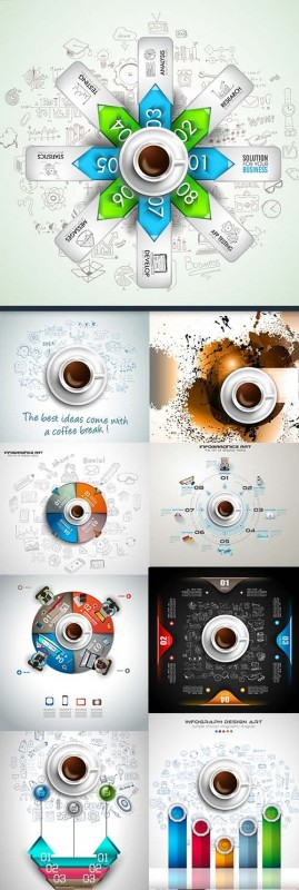 Coffe infographics modern Business elements collection