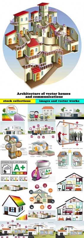 Architecture of vector houses- 25 Eps