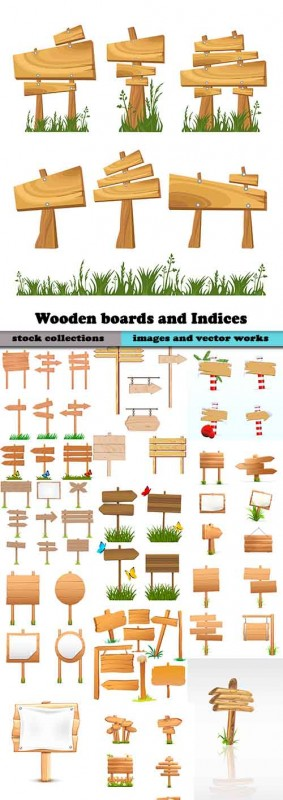 Wooden boards and Indices in vector - 25 Eps