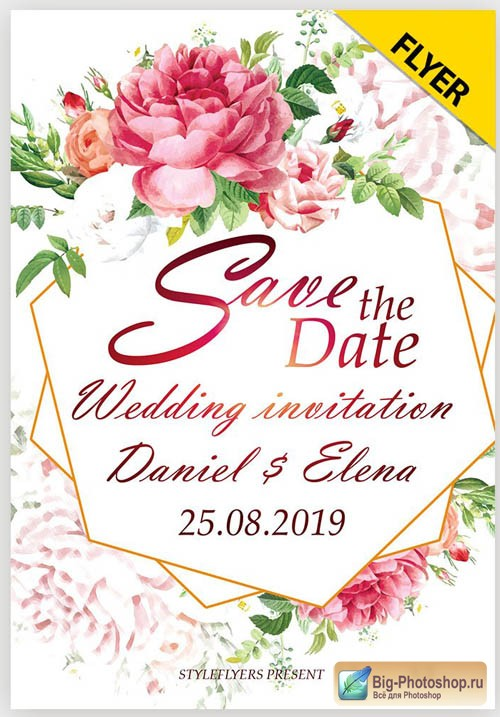 Save the date. Wedding invitation V1 2019 Flyer PSD Template