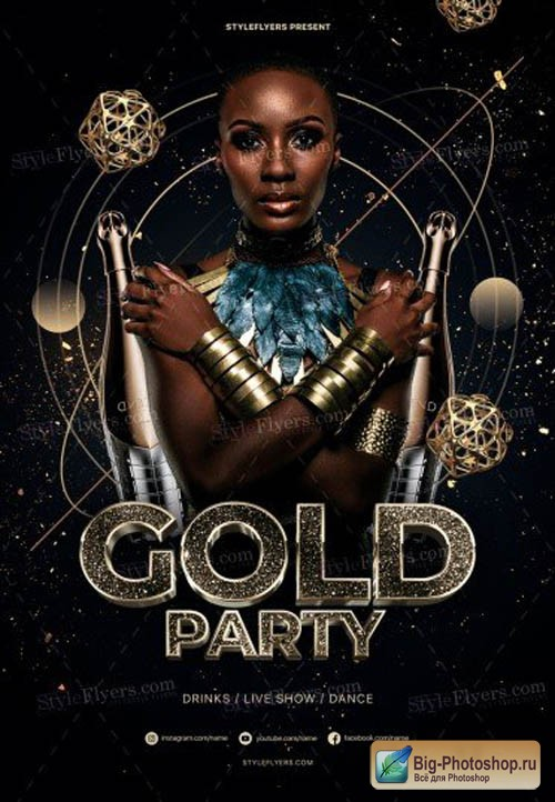 Gold Party V1208 2019 PSD Flyer Temlpate