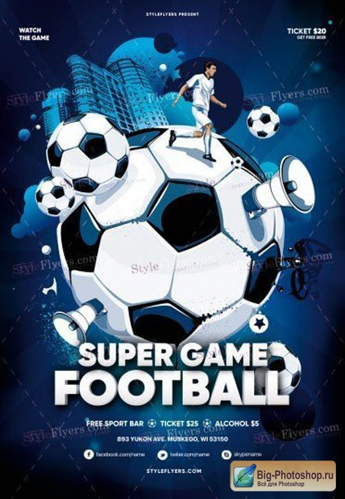 Super Game Football V1709 2019 PSD Flyer Template